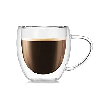 Lljdhome Clear Double Walled Glass Mugs,Borosilicate Glass Cups,For Tea,Coffee,Latte,Cappuccino,Espresso,Beer,250Ml (2 PCS)