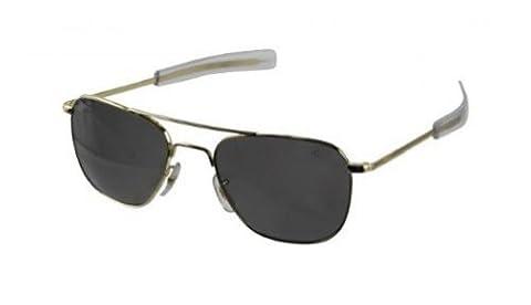 American Optical Original Pilotenbrille, 55mm, Goldrahmen mit Bajonettbügeln und grünem True Color (Besatzung Glas)