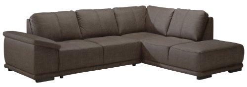 Cavadore 968 Ecksofa Calypse mit Ottomane rechts / Braunes Sofa im modernen Design / 273 x 83 x 214 (BxHxT) / Strukturstoff braun