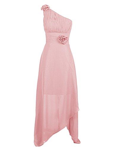 Dressystar Damen One Shoulder Kleider Chiffon Abendkleider Ballkleider Brautjungfern elegante Maxikleider Cocktailkleider Blush