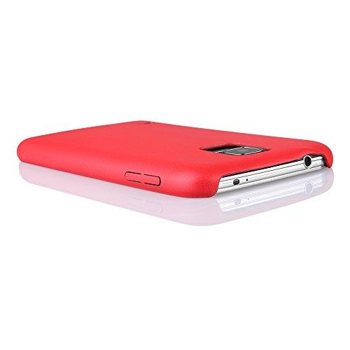 EGO® Ultra Slim Back Case Schutz Hülle für Samsung Galaxy S5 mini dunkelblau elastisch Schutzhülle Cover Handytasche Schale Leder Dünn Bumper Rot
