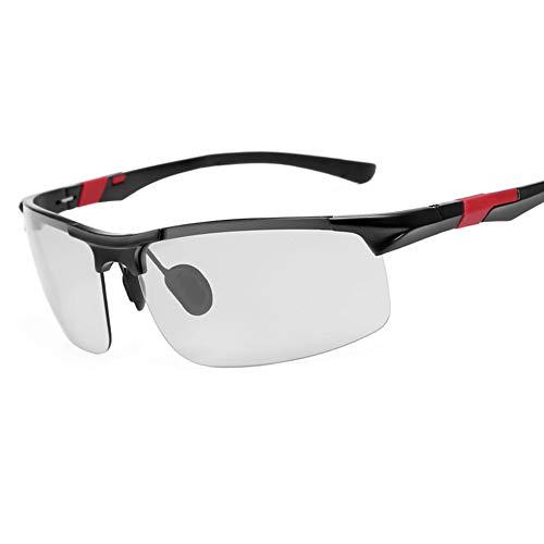 YIWU Brillen Sport-Sonnenbrille Photochrome Sonnenbrille Männer Frauen Radfahren Motorrad, Klar Reiten Sonnenbrille Farbwechsel Linsen Winddicht UV Schutz Brillen & Zubehör (Color : Red)