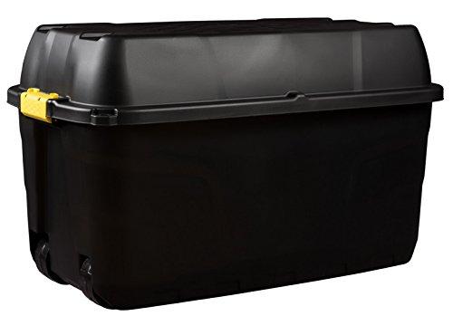Kreher XXL Transportbox, Kissenbox mit Nutzvolumen ca. 175 Liter. Aus Kunststoff in Schwarz mit Rollen und Deckel. Abschließbar. Maße BxTxH ca. 93 x 55 x 53 cm.