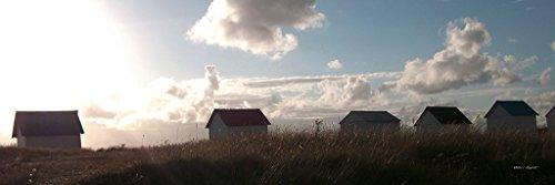 Serie Strandhäuschen: Strandhäuschen in der Normandie 5 - Exklusives Künstlermotiv, XXL Bild / Wandbild, Größe: 120 x 40 cm Quer-Format, Digital-Druck auf Art Canvas Leinwand, Keilrahmen 2 cm -