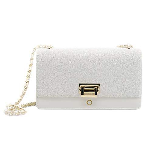 FLHT Handtasche Für Damen Damen Mädchen Leder Party Kleine Quadratische Tasche Dünne Schultergurt Kosmetiktasche Geldbörse Kleiner Rucksack,White-OneSize - White Heart Handtasche