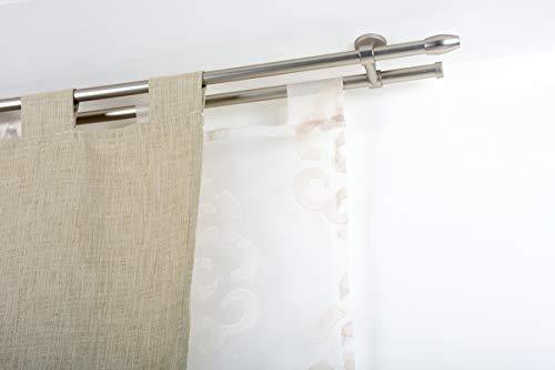 Incasa bastone doppio per tende Ø 20 mm senza anelli, l. 180 cm. in acciaio satinato – completo
