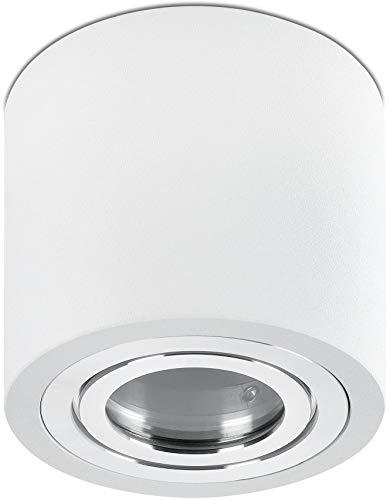 Spot Aluminium Aufbaustrahler 230V IP44 GU10 rund weiß - Ø90x85mm - weiß gebürstet