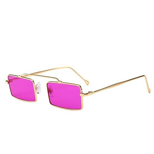 MJDABAOFA Sonnenbrillen,Retro Kleine Rechteckige Sonnenbrille Gold Frame Lila Objektiv Frauen Vintage Designer Inspiriert Sonnenbrillen Damen Für Schutzbrillen Quadrat Schattierungen Brillen