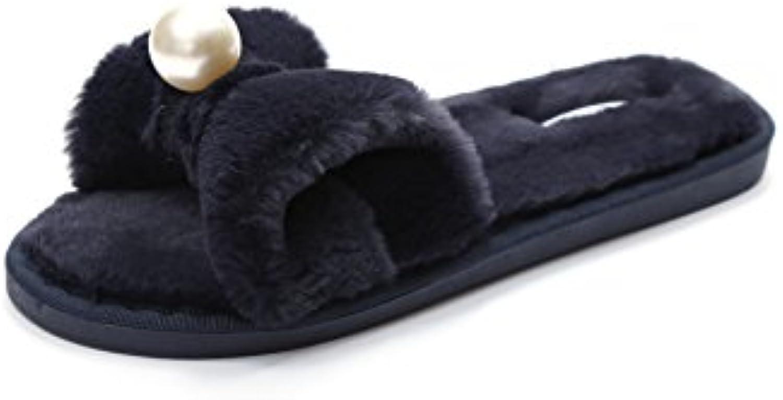 YMFIE La dama de cabello arco simple moda hogar antideslizante exterior toe zapatillas,38/39,negro -