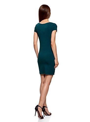 oodji Ultra Damen Enges Jersey-Kleid Grün (7400N)