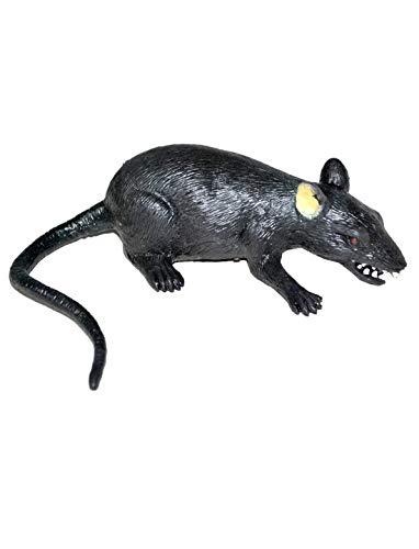 Whity Whiteman - Halloween Dekoration, Deko fiese grinsende Ratte Maus, 30cm, Rat, ideal für Jede Halloween Party / Feier, Schwarz