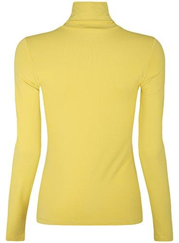 oodji Ultra Damen Langarmshirt Basic mit Rollkragen Gelb (5700N)
