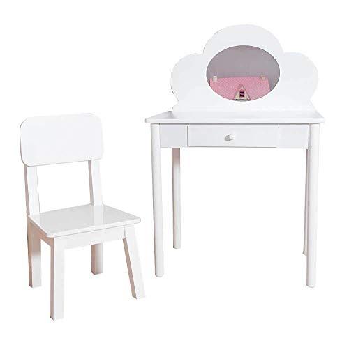 Sue Ryder Childrens Dressing Table & Chair Set Girls Kids Dress Make Up Vanity Mirror