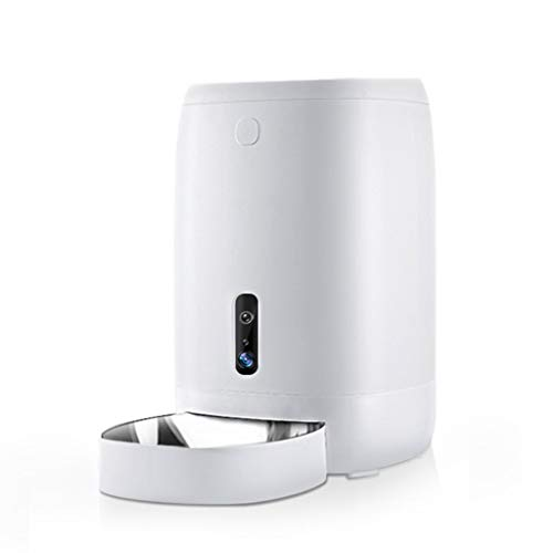 QBYLYF Alimentazione Intelligente Alimentatore Automatico di Cani E Gatti Wi-Fi Abilitato Alimentatore for Animali Domestici, App for Smartphone for iPhone E Android Timing Temporaneo (Color : White)