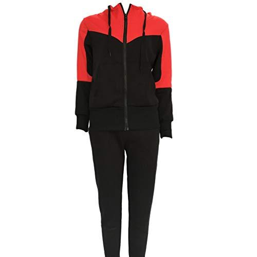 YiiJee Femmes La Mode Capuche Survêtement Ensembles Confortable Manches Longues Tops avec Fermeture Èclair Pantalon Deux Pièces Sportwear (Rouge, M)