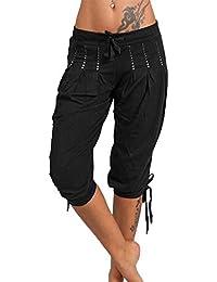 ca8123c45a40 Guiran Femme Pantacourt Ample Pantalons Courts 3 4 Bermudas Genou Longueur