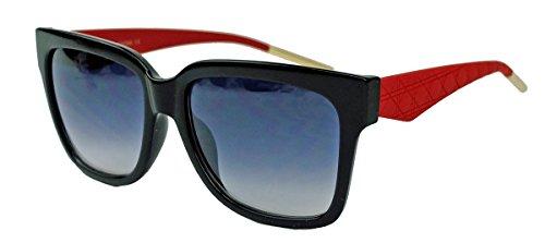 Damen Sonnenbrille im 70er Jahre Vintage Designer Look trapezförmig V24 (Rot)