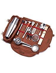 Meitian Cocktail Shaker Set Barkeeper Kit Tasche, 14-teiliges Bar Tool Set für Reisen, komplett gepolstert, Einheitsgröße, Braun -