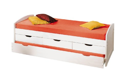Inter Link Bett Funktionsbett Kinderbett Einzelbett Stauraumbett modernes Bett Kiefer massiv Weiss lackiert