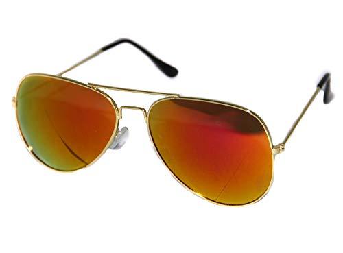 Foxxeo verspiegelte Pilotenbrille für Karneval Party Brille Pilot cool Gold rot Sonnenbrille