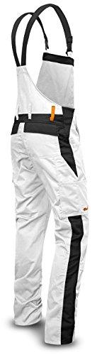KERMEN - Malerhose Herren Arbeits-Latzhose mit Kniepolstertaschen Berlin Kombi-hose - made in EU - Größe: 62, Farbe: Weiß