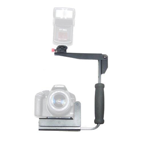DynaSun LH03 schnelle Flip Grip Flash Bracket Halter für Kamera, Original Canon, Nikon, Pentax, Olympus, Samsung, Panasonic, Fujifilm Kameras Flash Bracket Grip