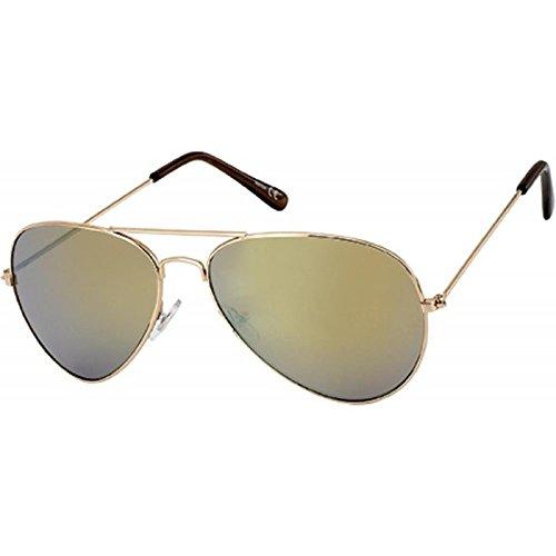 Chic-Net Hochwertige Sonnenbrille Pilotenbrille 400 UV Metallgestell Golden verspiegelt Lila Getönt Golden