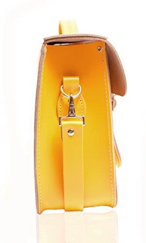 Oxbridge Satchels, Borsa a secchiello donna Pattent Oxblood Double Yellow
