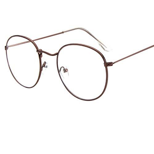 Beudylihy Modo Occhiali Trasparenti con Lenti Chiaro Occhiali da Lettura con Montatura Metallo Rotondi Ultrasottile Decorativo Occhiali da Vista