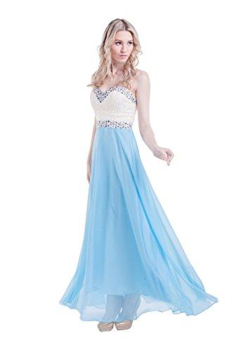 Beauty-Emily Maxi A-Linie Lace trägerlos Liebsten Ohne Arm Strass Leistung Abschluss-Cocktail-Abend-Hochzeits-Kleid Farbe Blau, Größe UK12