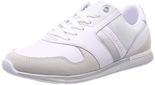 Tommy Hilfiger Iridescent Light Sneaker, Scarpe da Ginnastica Basse Donna, Bianco (White-Silver 902), 39 EU