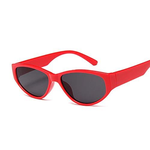 ZCFDMJ Sonnenbrillen Weinlese-Katzenauge-Sonnenbrille-Frauen-Klassischer Markendesigner-Kleine Rahmen-Sonnenbrille-Weiblicher OvalerLuxusbrillen-Uv400Redgray