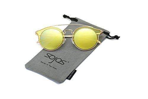 SojoS Classic Mens Womens Double Metal Bridge Round Sunglasses SJ2024