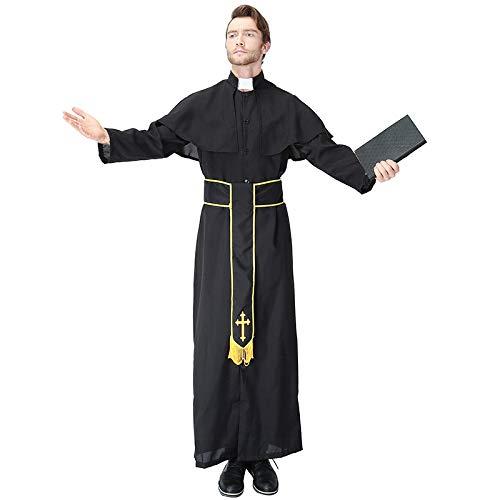 WEGCJU Cosplay Männlichen Pastor Missionar Spielt Kostüm Halloween Ostern Karneval Erwachsenen Motto Party Kleidung,Black-M (Beliebte Männliche Halloween-kostüme)