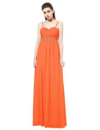 Dresstells Robe de cérémonie Robe de demoiselle d'honneur longue forme empire bretelles spaghetti Orange