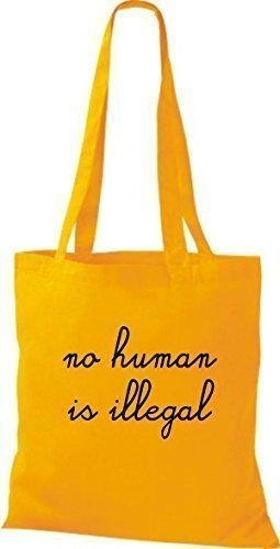 ShirtInStyle Sac fourre-tout Sac en coton no. human is illegal, pas Personnage est Illegal - Orange jaune doré