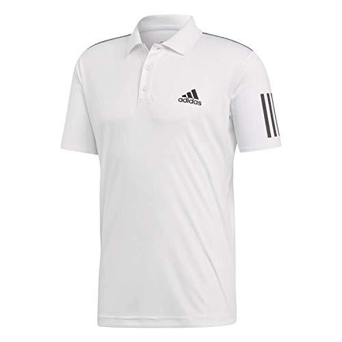 adidas Herren Club 3-Streifen Poloshirt, White/Black, L -