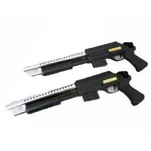 Einsteiger Softair-Gewehr Pumpgun im 2er-Set Airsoft Shotgun Doppelpack Schüttmagazin Federdruck schwarz silber unter 0,5 Joule ab 14 Jahre 6 mm