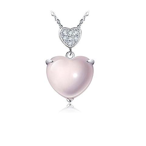 S925 Silver/Pendentif en cristal Furong rose/short chain clavicule-A