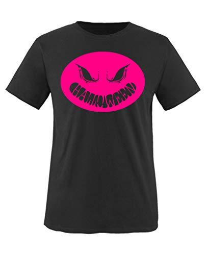 Comedy Shirts - Halloween Kuerbiskopf - Mädchen T-Shirt - Schwarz/Pink Gr. 152-164