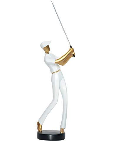 Amoy-Art Figurillas Decorativas con Diseño Golfista Escultura Figura Regalo Estatua Decoración para el Hogar Sala de Estar Oficina Animal Golf Golfer Figurine Statue Casa Resina 24cmH Blanco