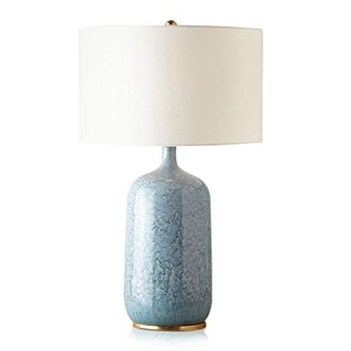 Einfache blaue Bierflasche Keramik Tischlampe, hochwertige beige weiße Leinen Hardware Base Hochtemperatur Keramik Lampe Leselampe, Schlafzimmer Studie Schreibtischlampe -