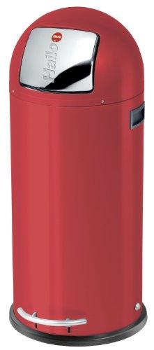 """Hailo KickMaxx XL, Mülleimer aus Stahlblech, 36 Liter, selbstschließende """"Push""""-Klappe, breite Fußreling, verzinkter Inneneimer, Tragegriffe, 0850-579"""