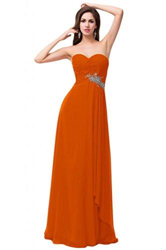 Sunvary in Chiffon con decorazioni rosso da sera, abiti da damigella d'onore Arancione