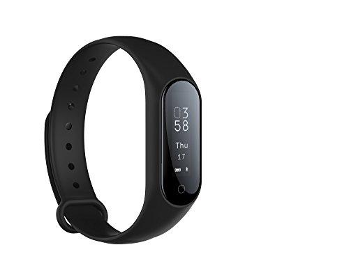 Monitor de actividad física Monitor de frecuencia cardíaca en tiempo real, Smart Pulsera Fitness Pulsera Podómetro con Step Tracker / Calorie Counter / Sleep Tracker Notificación de llamada Push para (Negro)
