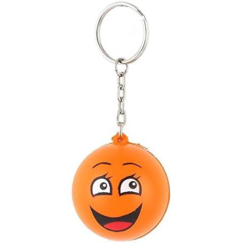 Diseño de la bola sonrisa colgando decoración llavero colgante impreso naranja
