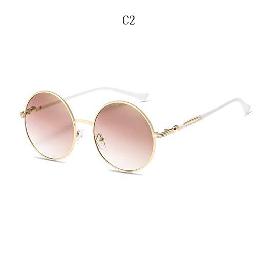 FGRYGF-eyewear Sport-Sonnenbrillen, Vintage Sonnenbrillen, Vintage Round Sunglasses Women Reflective Sun Glasses Female Women's Shades Lunette De Soleil UV400 601 C2