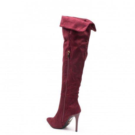 Ideal Shoes - Cuissardes effet daim Tamalia Rouge