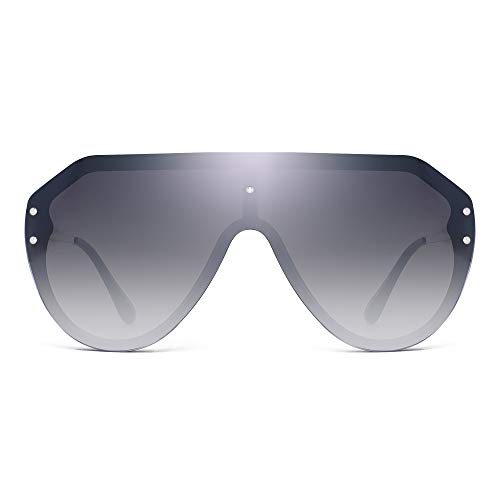 JIM HALO Oversized Schild Sonnenbrillen Randlos Flach Top Spiegel Brillen Damen Herren(Schwarzer Rahmen/Gradient Graue Linse)