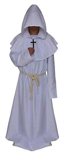 Robe Kostüm Priester Schwarze - JIAENY Mönch Kostüm Mittelalter Mönch Mit Kapuze Renaissance Priester Robe Kostüm Halloween Kostüm.Halloween,MA